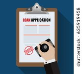 loan agreement with approved... | Shutterstock .eps vector #635919458
