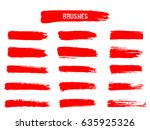 painted grunge stripes set. red ... | Shutterstock .eps vector #635925326
