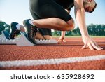 runners preparing for race at... | Shutterstock . vector #635928692