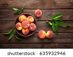 Fresh Juicy Peaches With Leave...