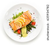 grilled salmon with asparagus... | Shutterstock . vector #635934782