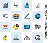 trade colorful outline icons... | Shutterstock .eps vector #635937788