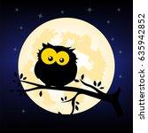 cartoon owl at night sitting on ...