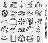 vacation icons set. set of 25... | Shutterstock .eps vector #635946872