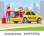 taxi with open boot. happy... | Shutterstock .eps vector #635952956