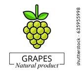 cartoon grapes green label   Shutterstock .eps vector #635955998