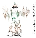 traditional muslim family with... | Shutterstock .eps vector #635959352