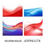 vector set of abstract wavy... | Shutterstock .eps vector #635961176