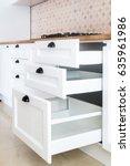 opened kitchen drawer  kitchen...   Shutterstock . vector #635961986