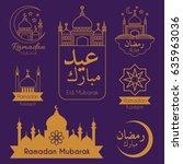 islamic emblems set for ramadan ... | Shutterstock .eps vector #635963036