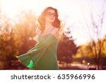 beautiful fashion elegant woman ... | Shutterstock . vector #635966996