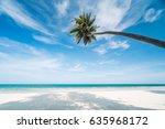 view of nice tropical beach... | Shutterstock . vector #635968172