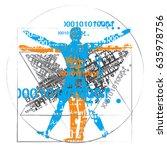 anatomy of man of digital age.... | Shutterstock .eps vector #635978756