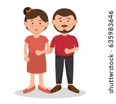 brunette couple design. | Shutterstock .eps vector #635983646