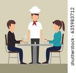 couple eating design.   Shutterstock .eps vector #635983712