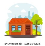 city landscape buildings icon | Shutterstock .eps vector #635984336