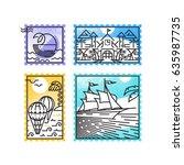 set of monoline postage stamps  ... | Shutterstock .eps vector #635987735