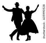 hungarian folk dancers couple... | Shutterstock .eps vector #635990528
