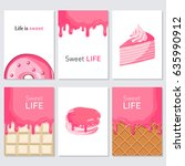 sweet life. set of sweets cards ... | Shutterstock .eps vector #635990912