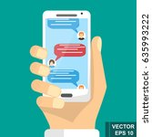 online sms communication via... | Shutterstock .eps vector #635993222