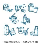 milk products illustration.... | Shutterstock .eps vector #635997548