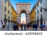 rua augusta arch in lisbon... | Shutterstock . vector #635998835