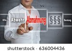 Small photo of Abmahnung (in german Admonition, defense, help, advice) concept background is shown by man.