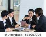 business people discuss the... | Shutterstock . vector #636007706
