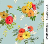 Stock vector floral seamless pattern summer and autumn flowers background vector 636010616