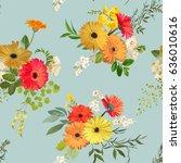 floral seamless pattern. summer ... | Shutterstock .eps vector #636010616