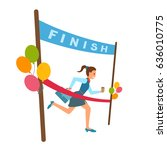 woman reaches finish  red...   Shutterstock .eps vector #636010775