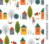 cute houses  cat  fox and... | Shutterstock .eps vector #636012956