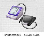 digital blood pressure monitor... | Shutterstock .eps vector #636014606