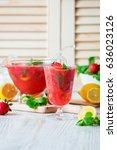 strawberry lemonade or cocktail | Shutterstock . vector #636023126