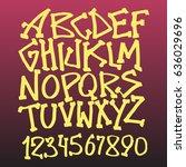 handlettering graffiti alphabet | Shutterstock .eps vector #636029696
