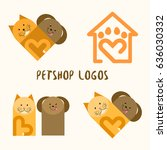 Stock vector petshop logos cat and dog 636030332