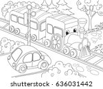 cartoon train train and car... | Shutterstock .eps vector #636031442