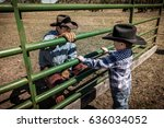 APRIL 22, 2017, RIDGWAY COLORADO: Young cowboy watches older Cowboys brand cattle on Centennial Ranch, Ridgway, Colorado - a ranch with Angus/Hereford cross, owned by Vince Kotny - stock photo