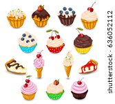 set of vector cupcake  muffin ... | Shutterstock .eps vector #636052112