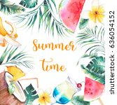 summer time. watercolor frame.... | Shutterstock . vector #636054152