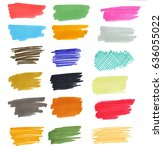 set of hand drawn with marker... | Shutterstock . vector #636055022