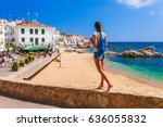 tourist woman in calella de... | Shutterstock . vector #636055832