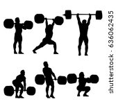 clean and jerk silhouette of ...   Shutterstock .eps vector #636062435