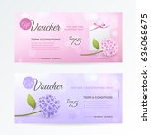 set of gentle gift vouchers... | Shutterstock .eps vector #636068675
