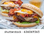 delicious bacon burger with egg ... | Shutterstock . vector #636069365