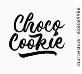 choco cookie. ink hand... | Shutterstock .eps vector #636069986