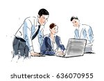 colored hand sketch of people... | Shutterstock .eps vector #636070955
