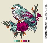 set of colorful birds and... | Shutterstock .eps vector #636073346