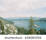 view of snowy emerald bay in... | Shutterstock . vector #636081056