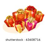 decorated christmas gift boxes... | Shutterstock .eps vector #63608716
